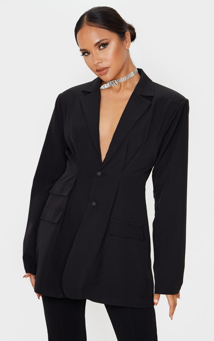 Black Woven Cinched Waist Shoulder Padded Blazer 1