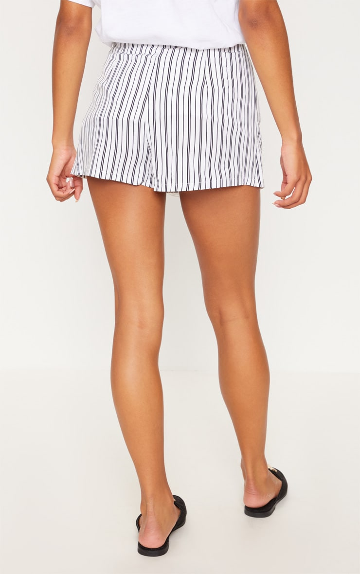 Monochrome Stripe Side Tie Skort 4