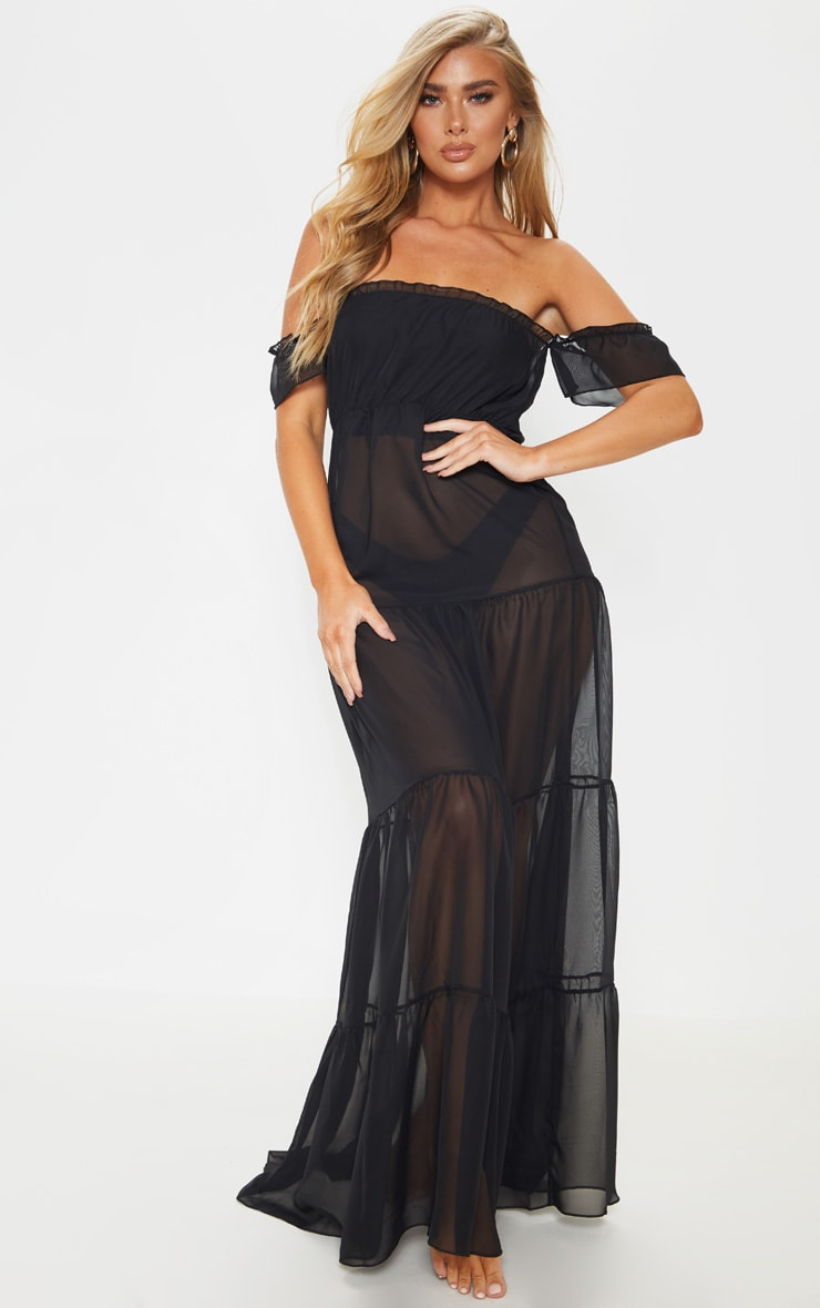 Black Bardot Frill Tiered Chiffon Maxi Beach Dress 4