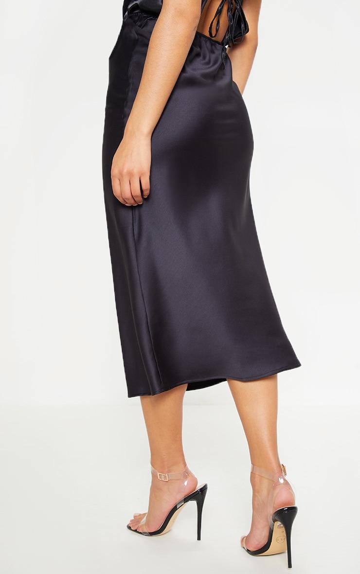 Black Satin Midi Skirt  4