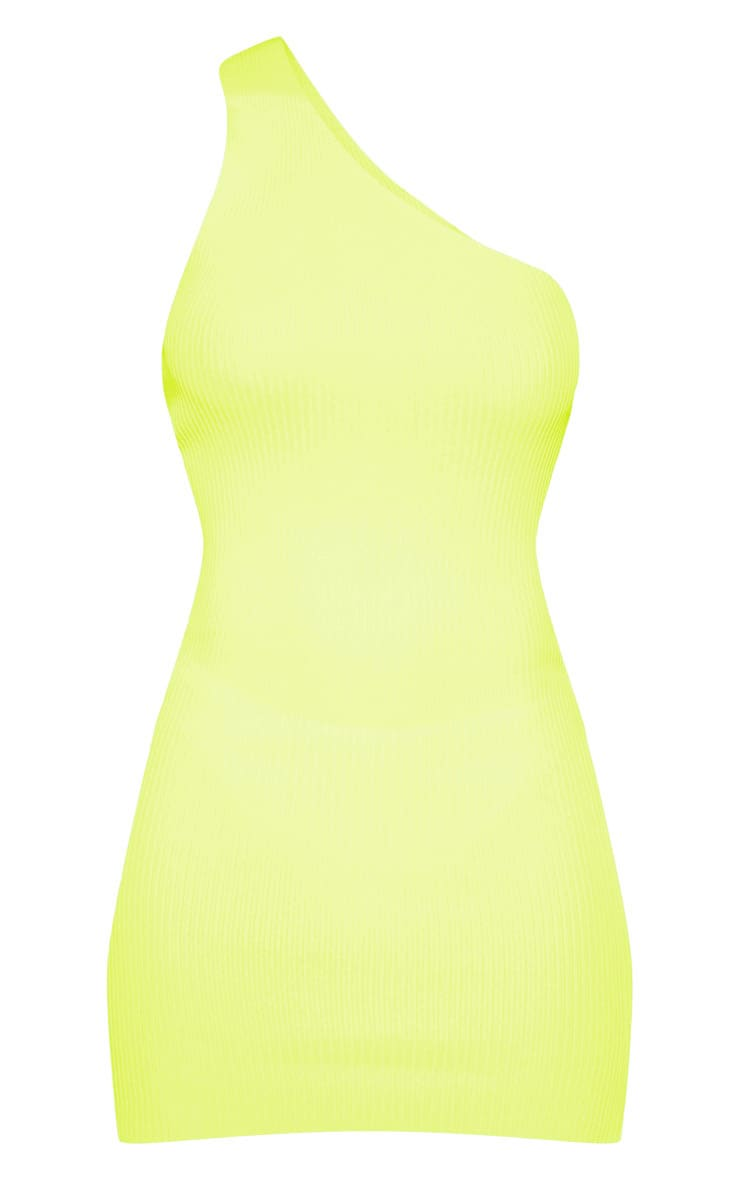 Neon Yellow Asymmetric Ribbed Knit Dress  3