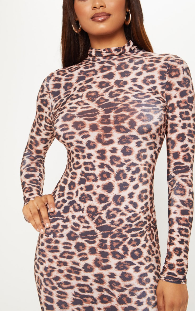 Tall Brown Leopard Slinky High Neck Midi Dress 5
