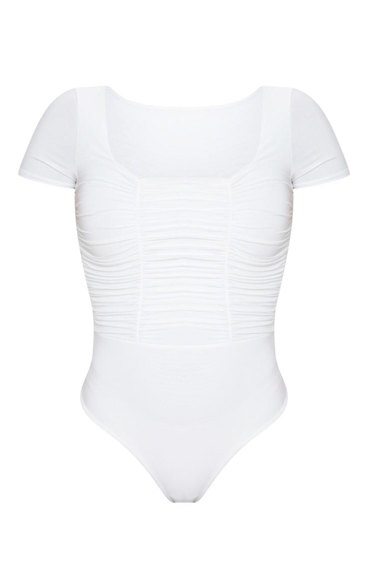 Cream Slinky Ruched Panelled Short Sleeve Bodysuit 3