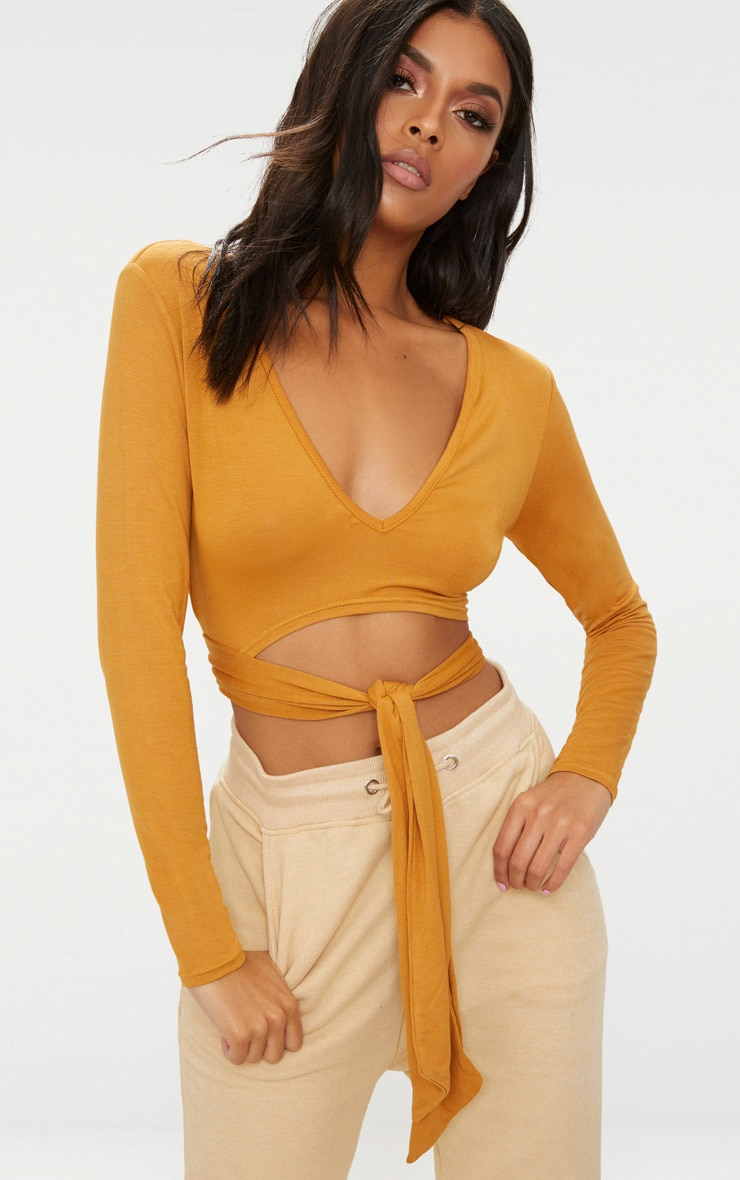 Mustard V Neck Wrap Front Long Sleeve Crop Top  1