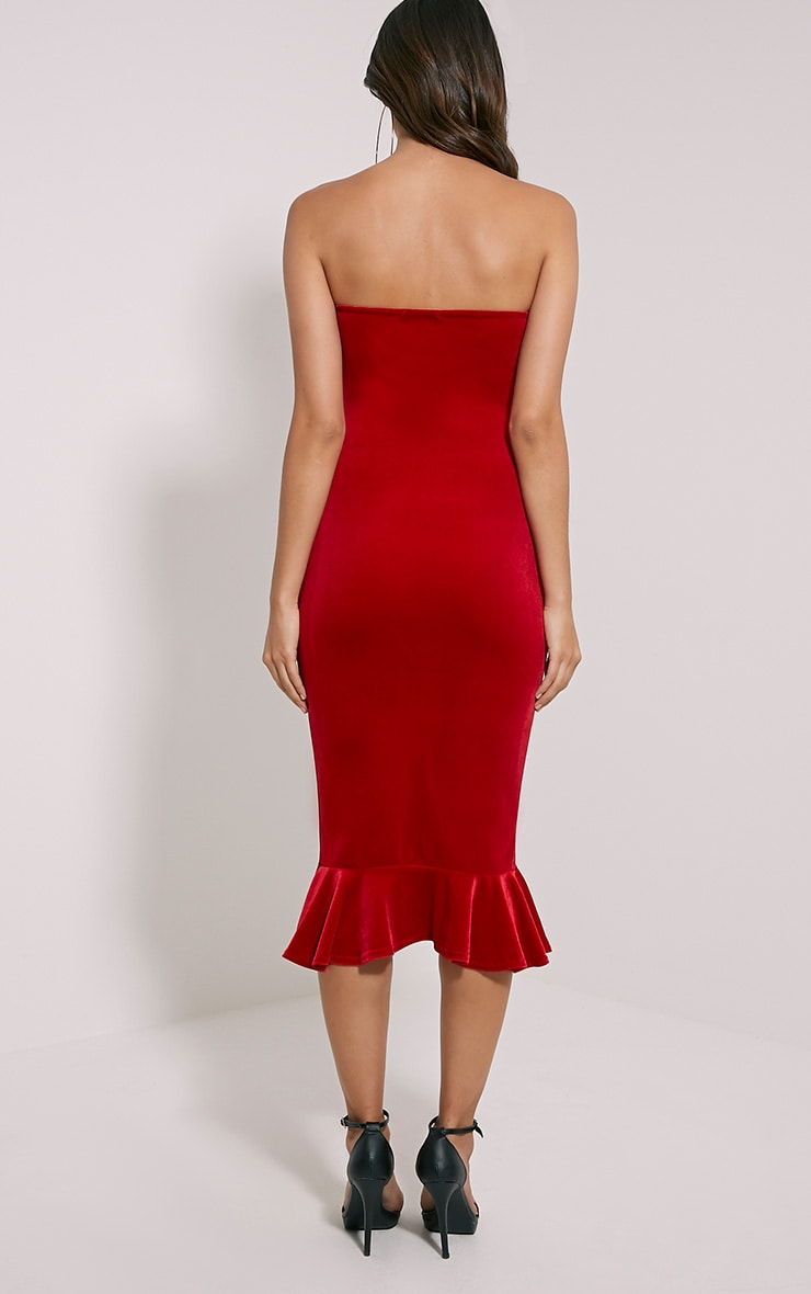 Tawny Red Velvet Bandeau Midi Dress 2