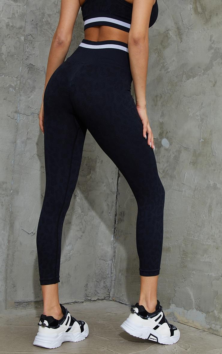 Black Seamless Leopard Stripe Detail Gym Legging 3