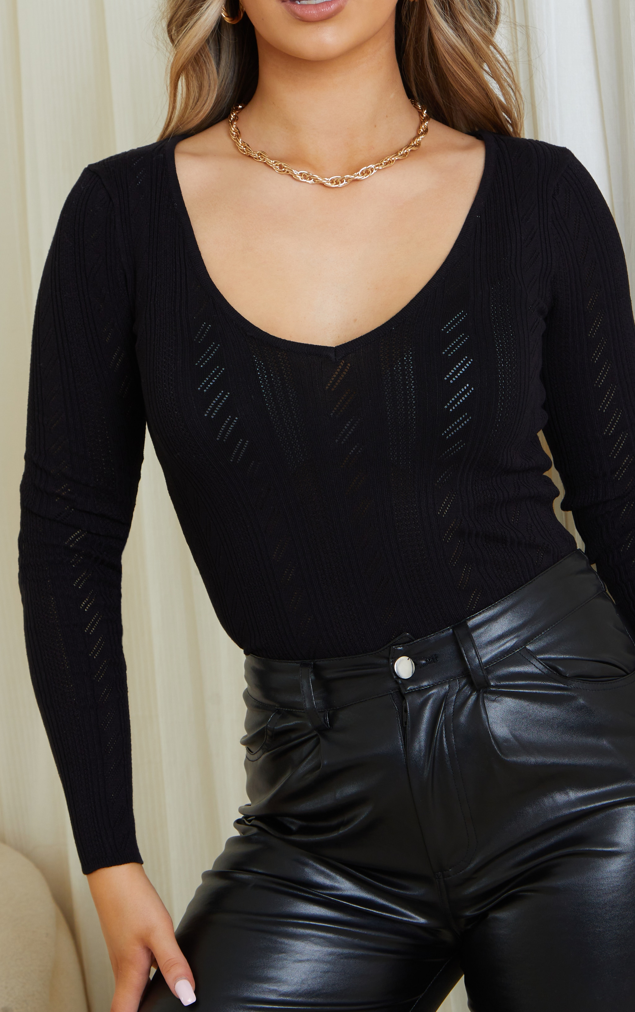 Black Pointelle V Neck Knitted Fitted Sweater 4