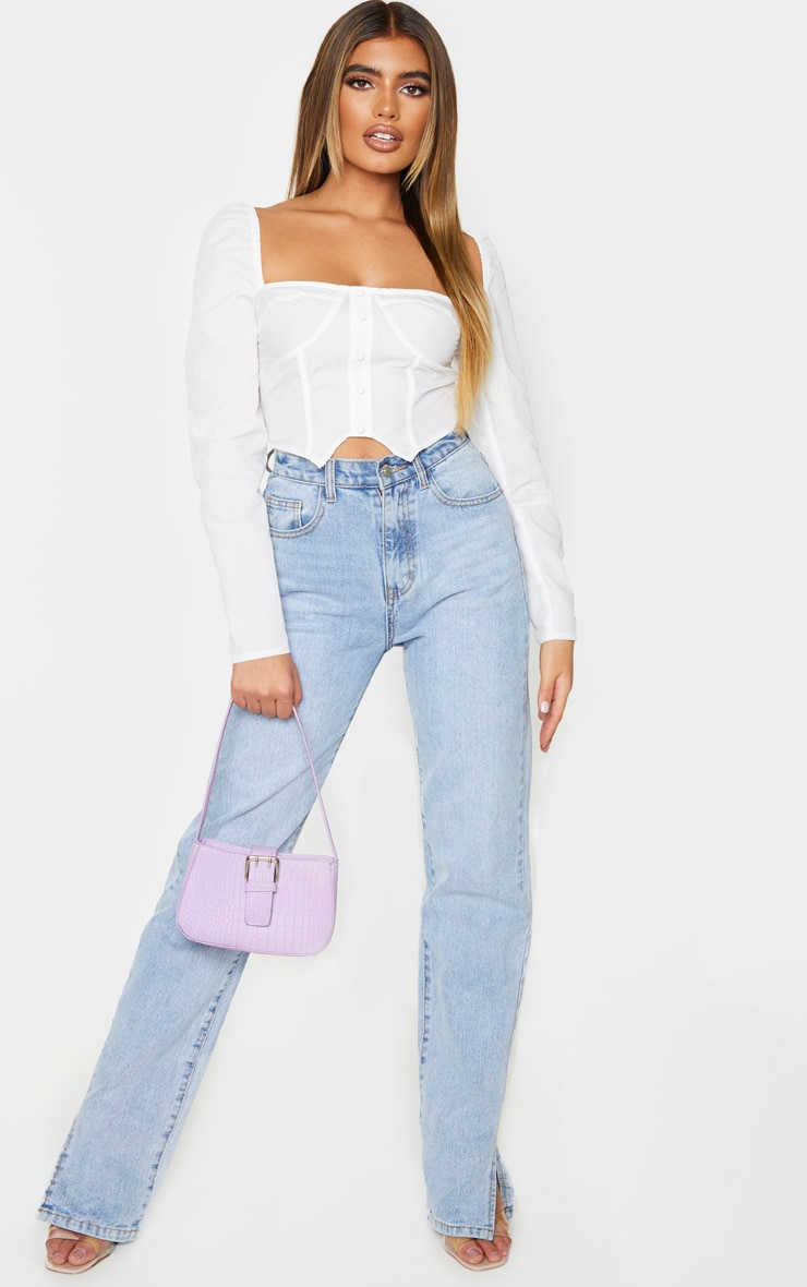 White Woven Puff Long Sleeve Button Crop Top 3