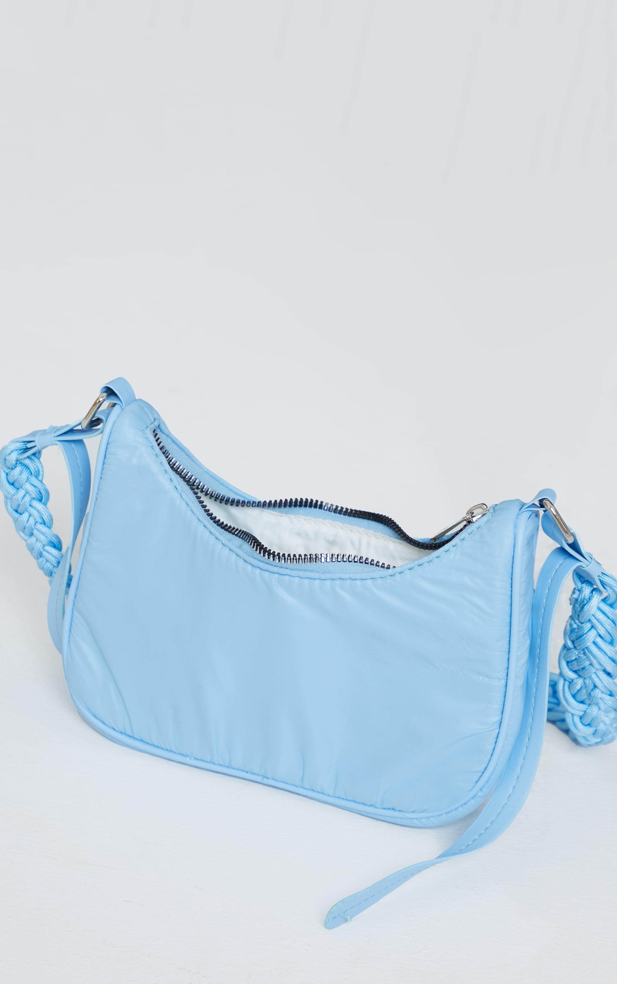 Baby Blue Weave Handle Shoulder Bag 3