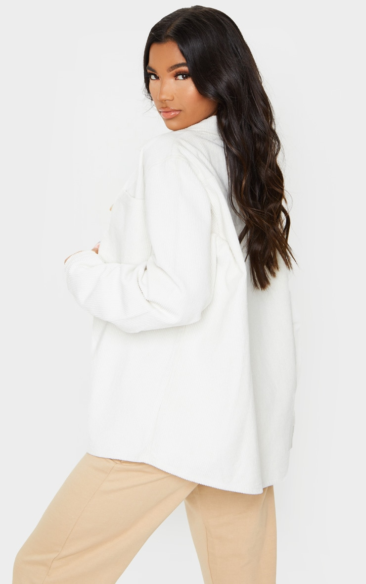 White Jumbo Cord Long Sleeve Denim Shirt 2