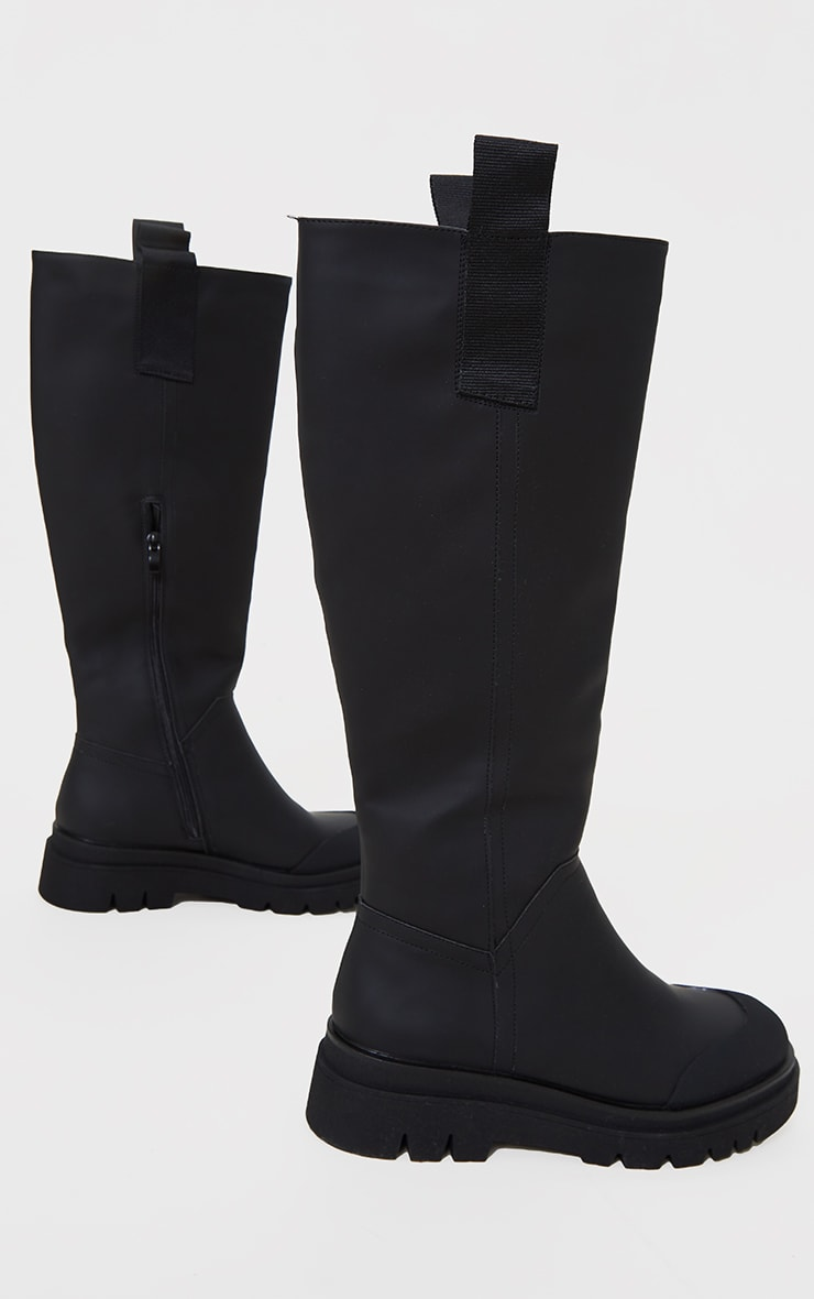 Black Rubber Chunky Sole Rain Boots 3