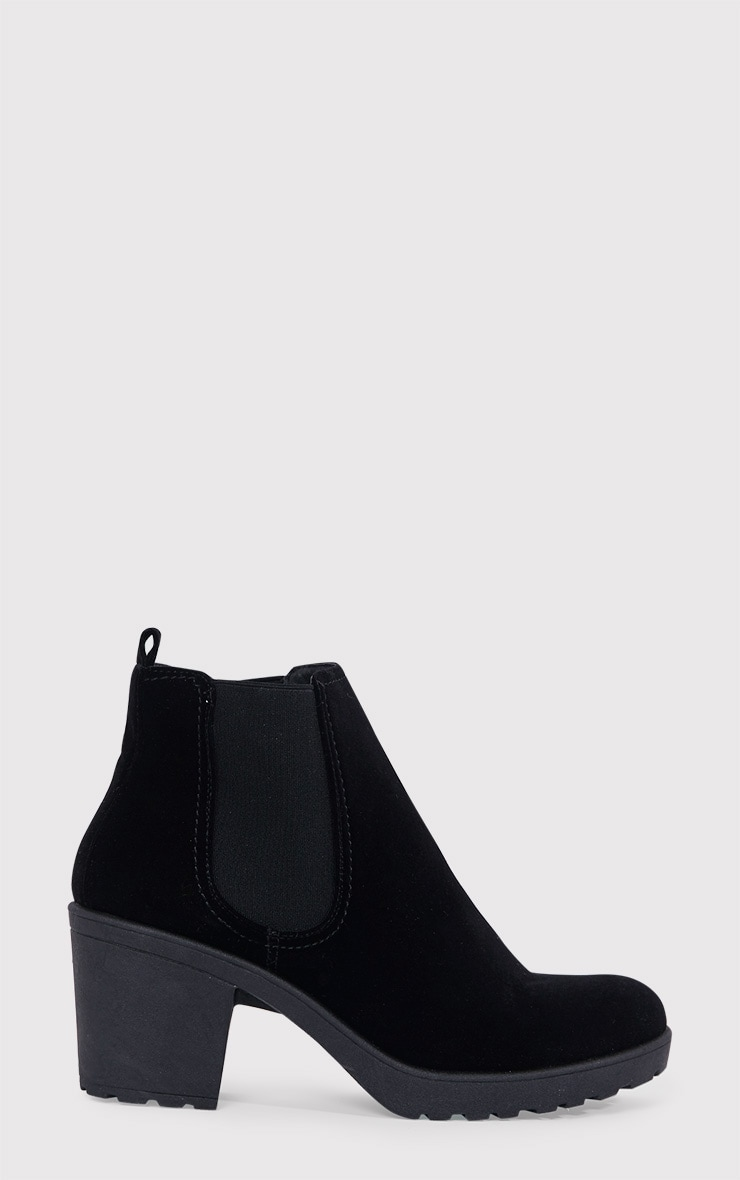 Daria Black Faux Suede Heeled Ankle Boots 1
