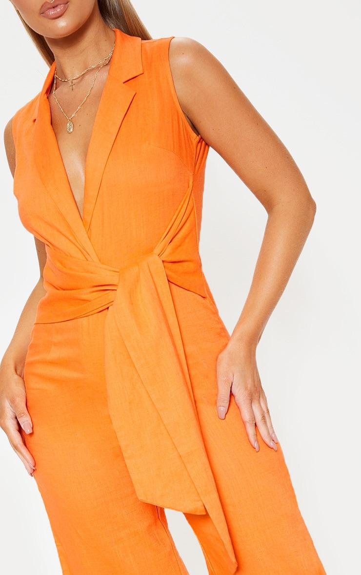 Bright Orange Blazer Style Tie Waist Jumpsuit 5