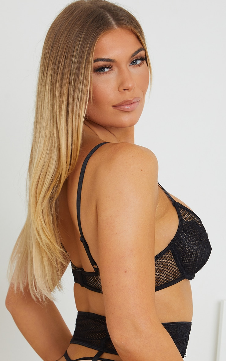 Black Underwired Fishnet Lace Cup Bra 2