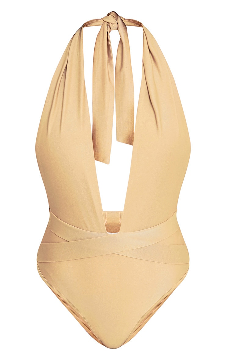 Bethanne Camel Wrap Around Front Swimsuit 2