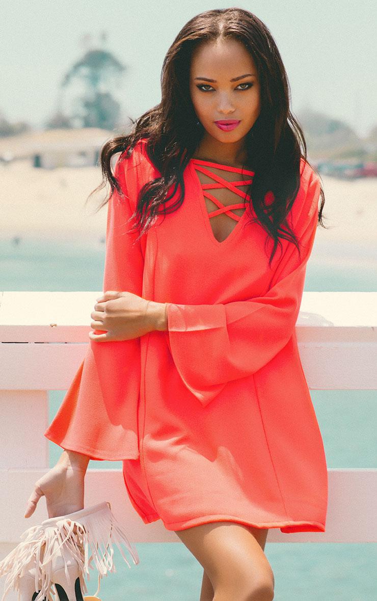 Liz Neon Pink Cross Front Crepe Loose Fit Swing Dress 3