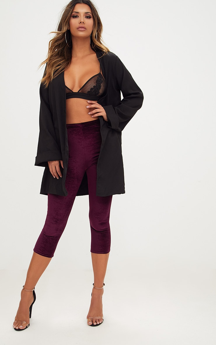 Plum Cropped Velvet Leggings 1