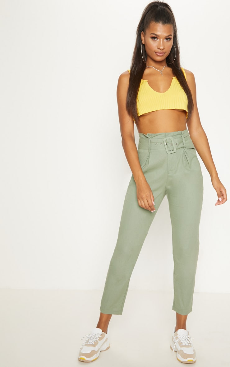 Sage Green Belted Paperbag Tapered Trouser 1