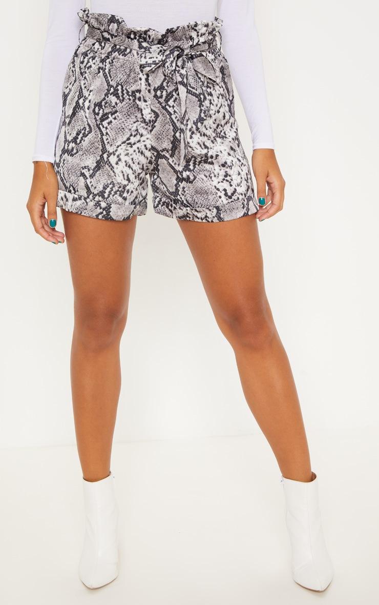 Grey Snake Print Satin Shorts 2