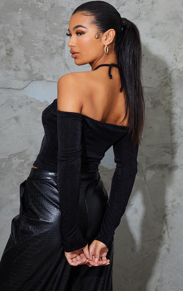 Black Slinky Halterneck Long Sleeve Long Top 2