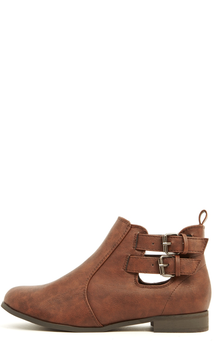 Isla Brown PU Cut Out Ankle Boots  1