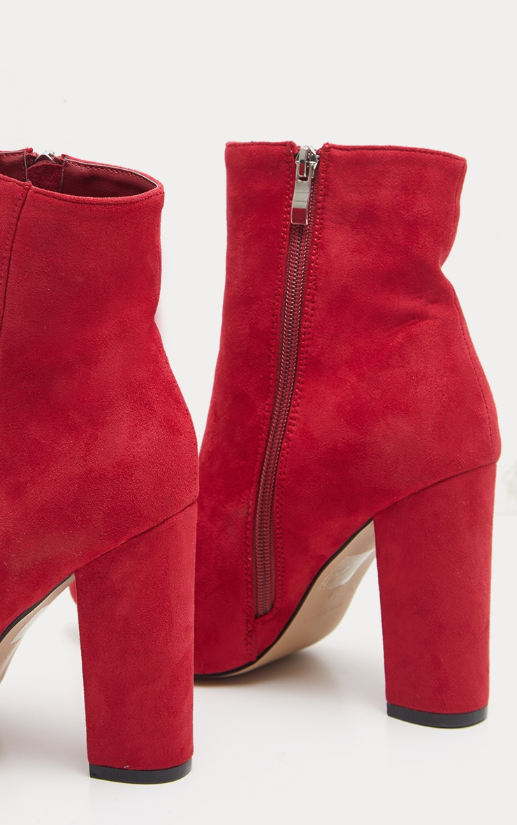 Red Faux Suede Ankle Boots 4