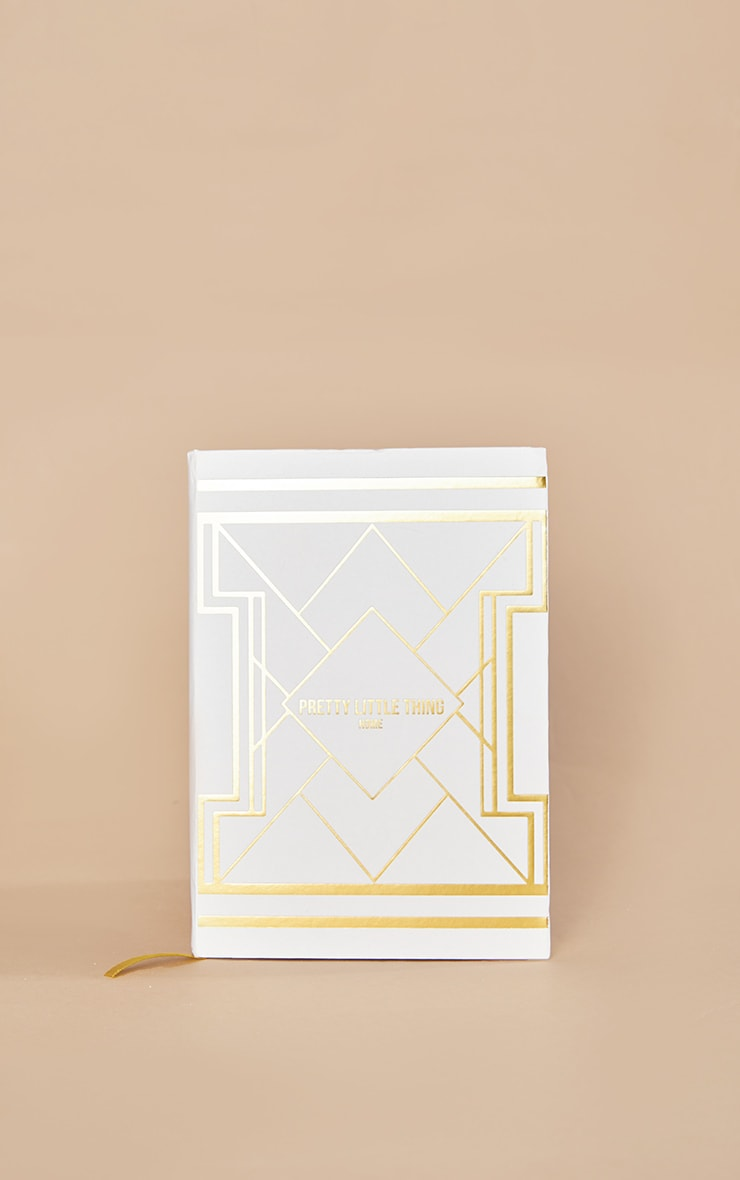PRETTYLITTLETHING White with Gold Geo Print Notepad 3