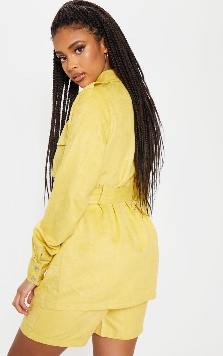 Mustard Faux Suede Pocket Detail Jacket  2