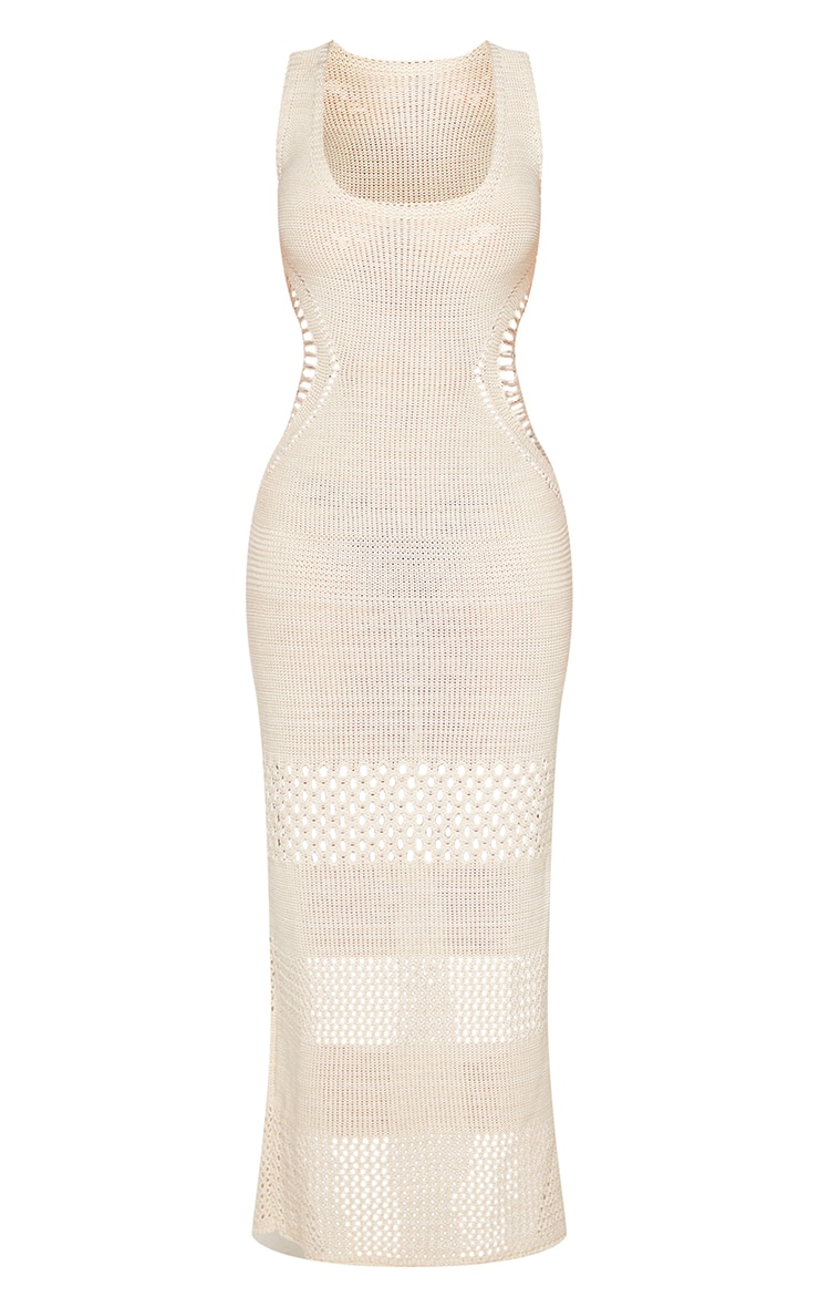 Petite Cream Crochet Plunged Maxi Dress 5
