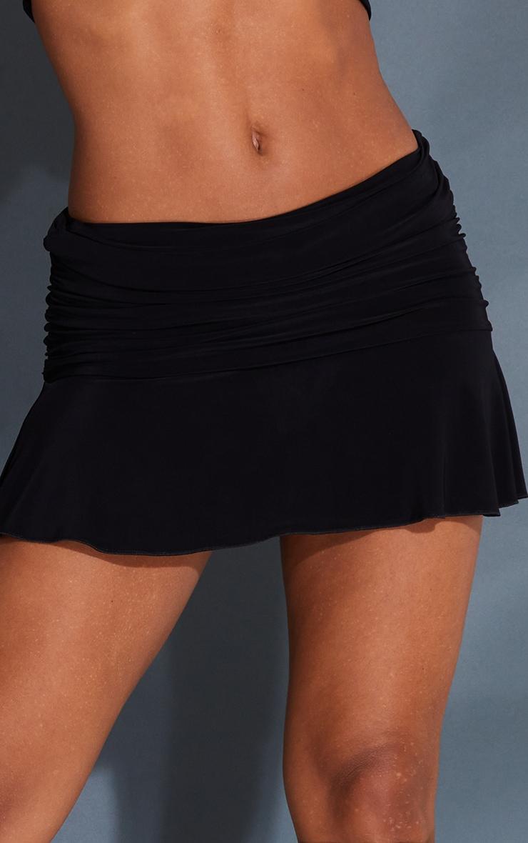 Black Ruched Slinky Frill Hem Mini Skirt 5