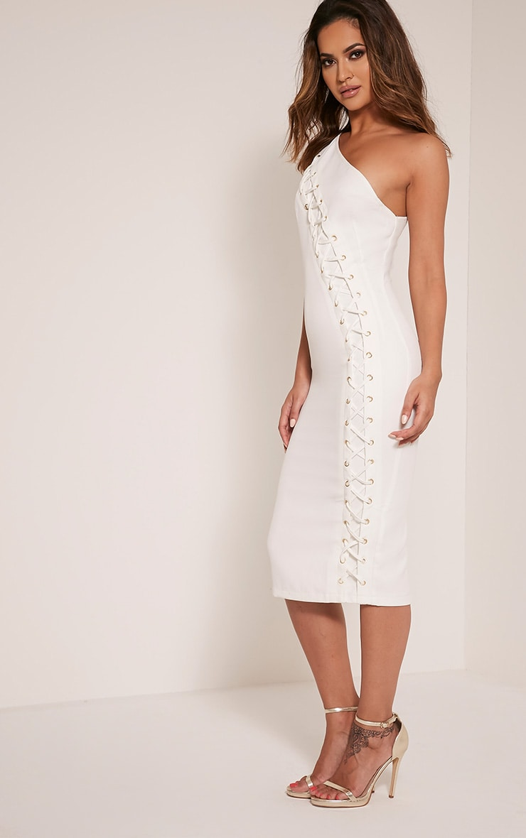 Jayla White Lace Up One Shoulder Midi Dress 4