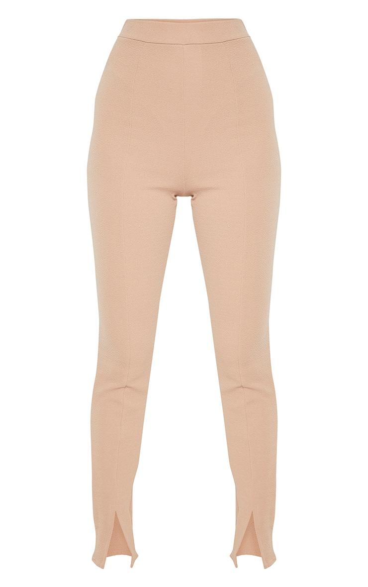 Tall Camel High Waisted Crepe Split Hem Trouser 3