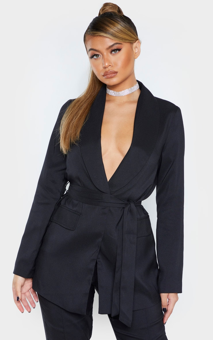 Black Belted Lapel Detail Woven Blazer 1