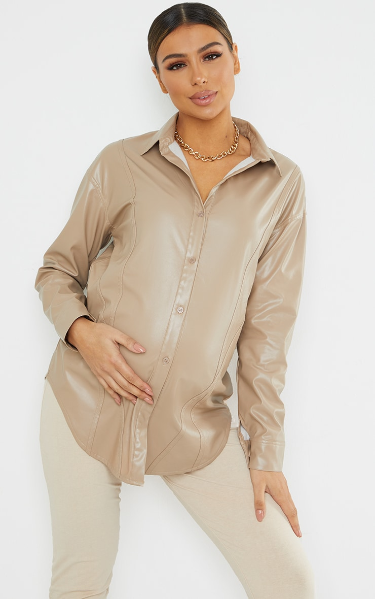 Maternity Stone Bump Seam Detail Faux Leather Shirt