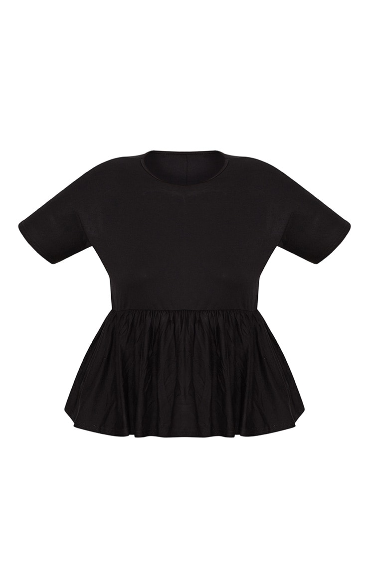 Plus Black Frill Hem T Shirt 3