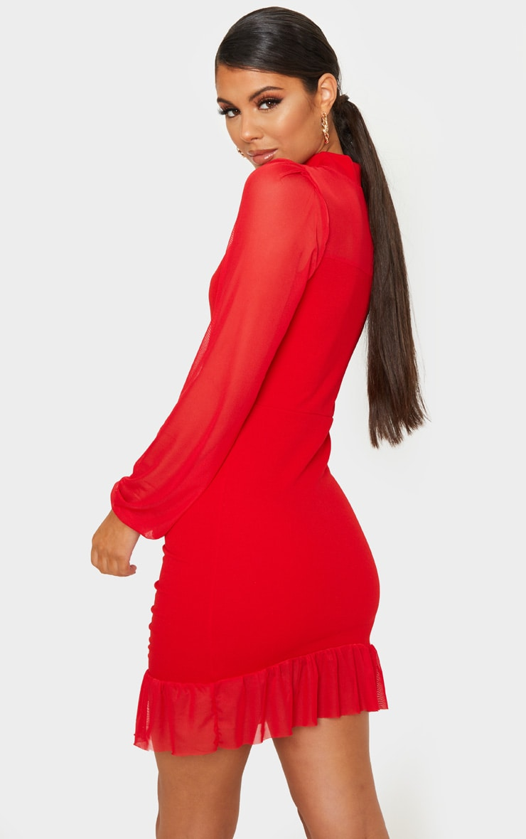 Red High Neck Ruched Mesh Contrast Bodycon Dress 2