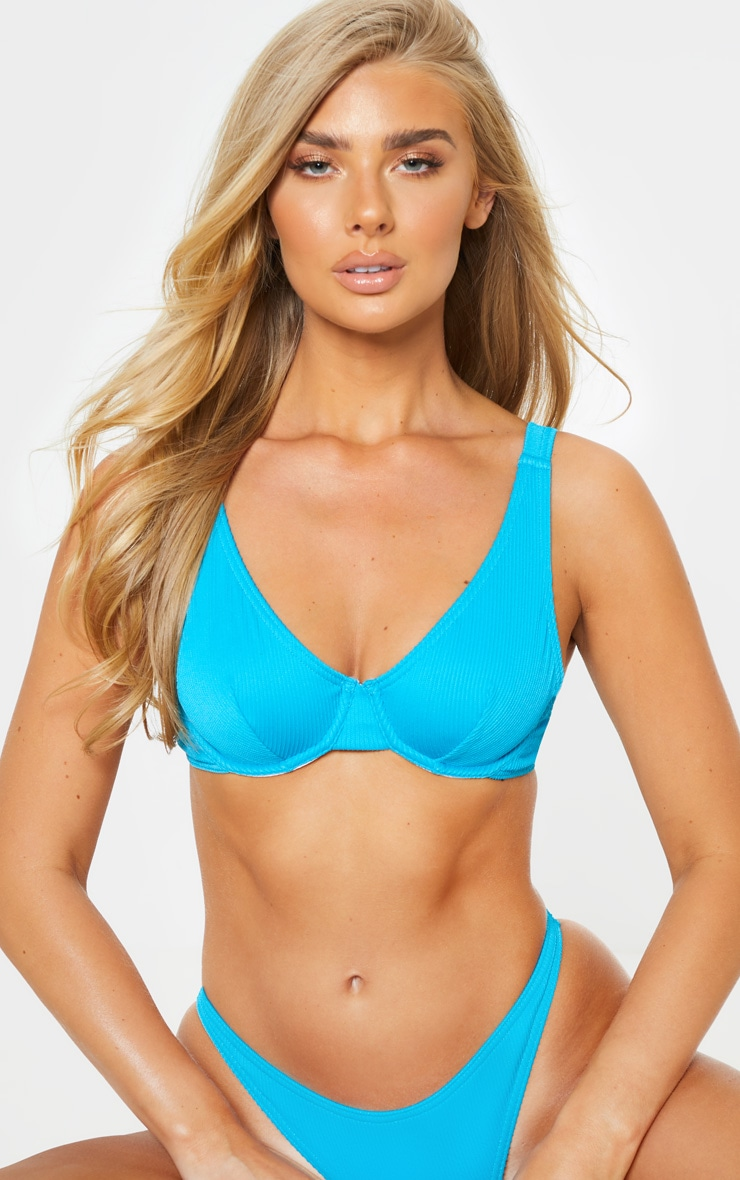 Turquoise Ribbed Underwired High Apex Bikini Top 5