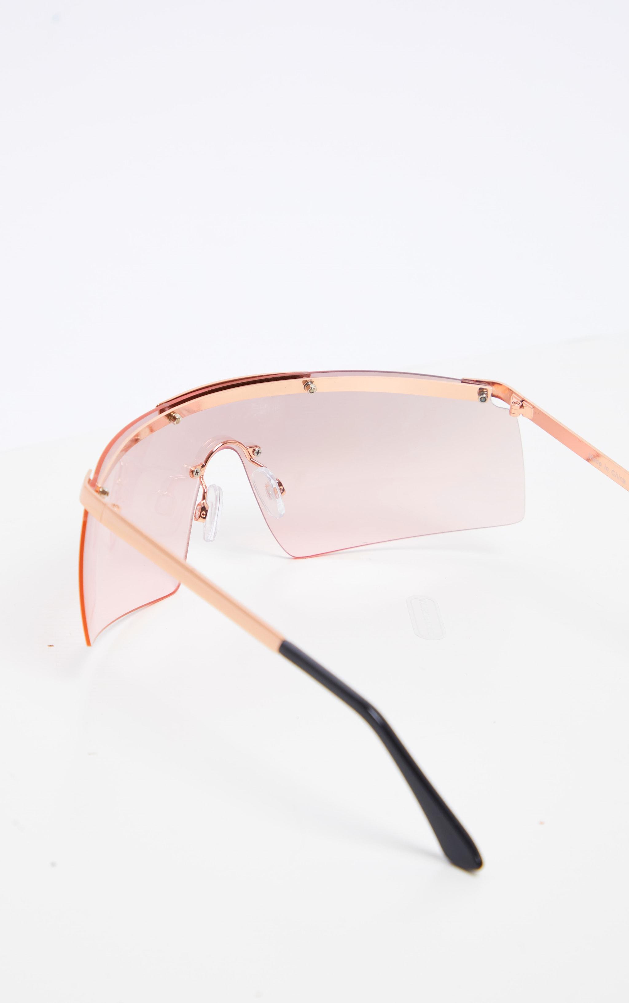 Rose Gold Tinted Flat Top Frameless Visor Sunglasses 3