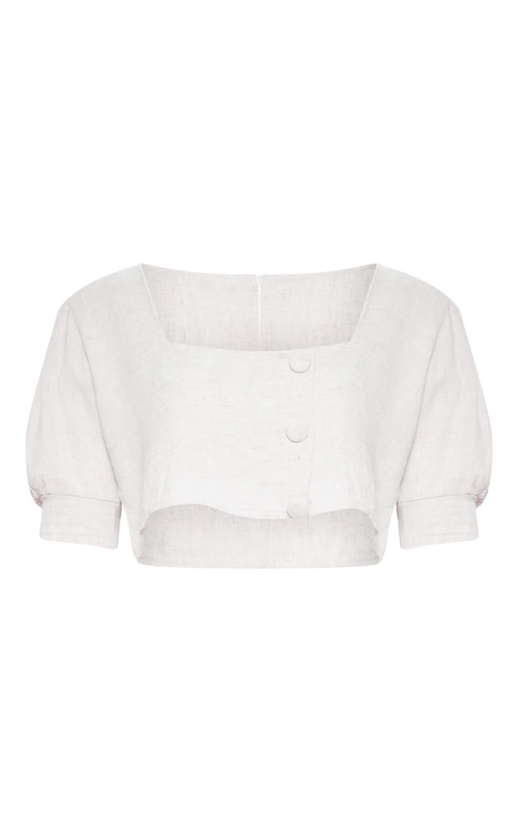 Plus Stone Button Front Puff Sleeve Crop Top 2