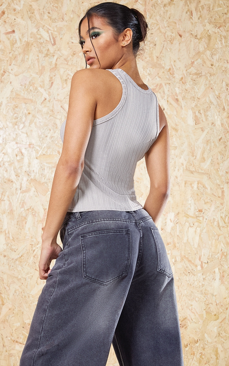 Grey Recycled Rib Racer Neck Top 2