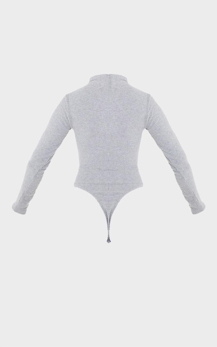 Tall Grey Brushed Rib Roll Neck Long Sleeve Bodysuit 6