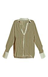 Green Textured Stripe Woven Oversized Shirt 5