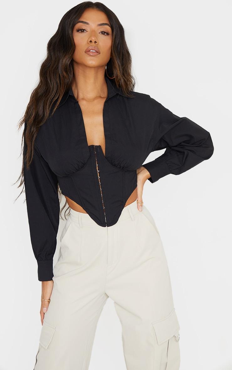 Black Collar Long Sleeve Corset 3
