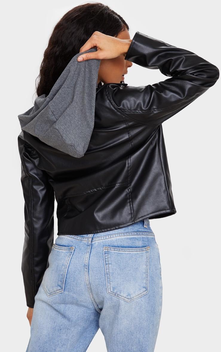 Black Faux Leather Hooded Biker Jacket 2