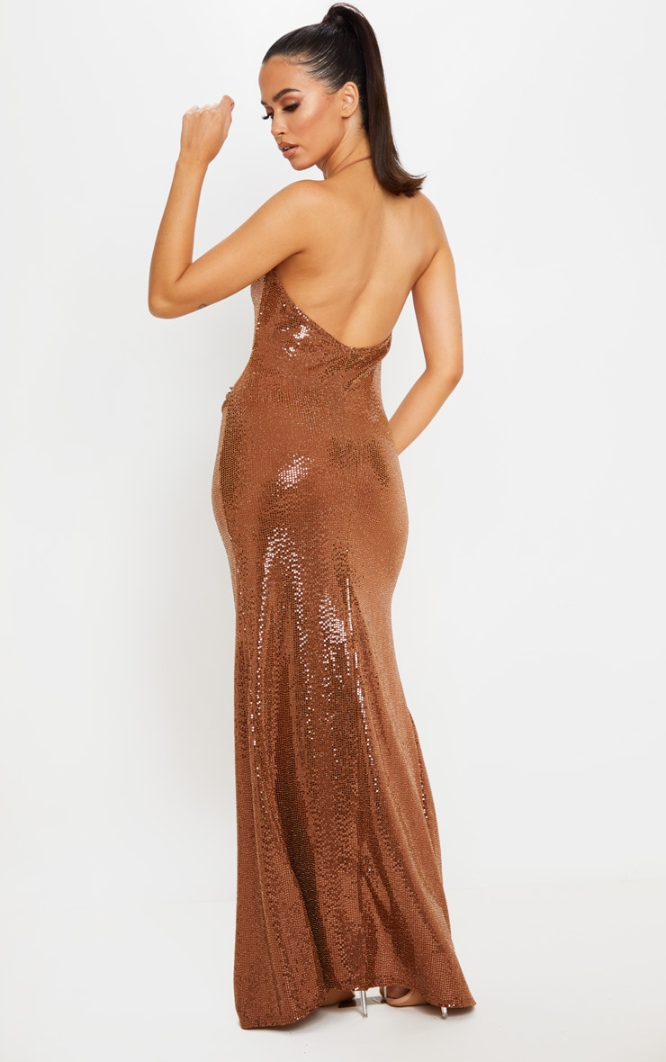 Bronze Sequin Cowl Neck Maxi Dress 2