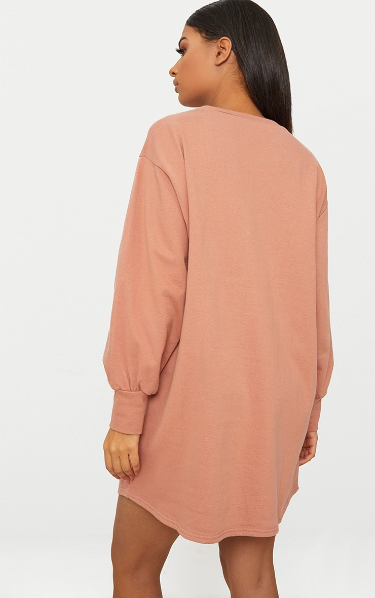 Deep Peach Oversized Sweater Dress 2