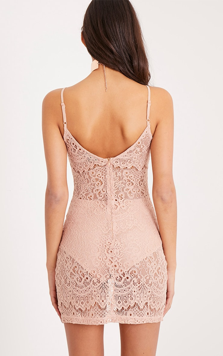 Laysie Nude Strappy Cup Detail Sheer Lace Bodycon Dress 2