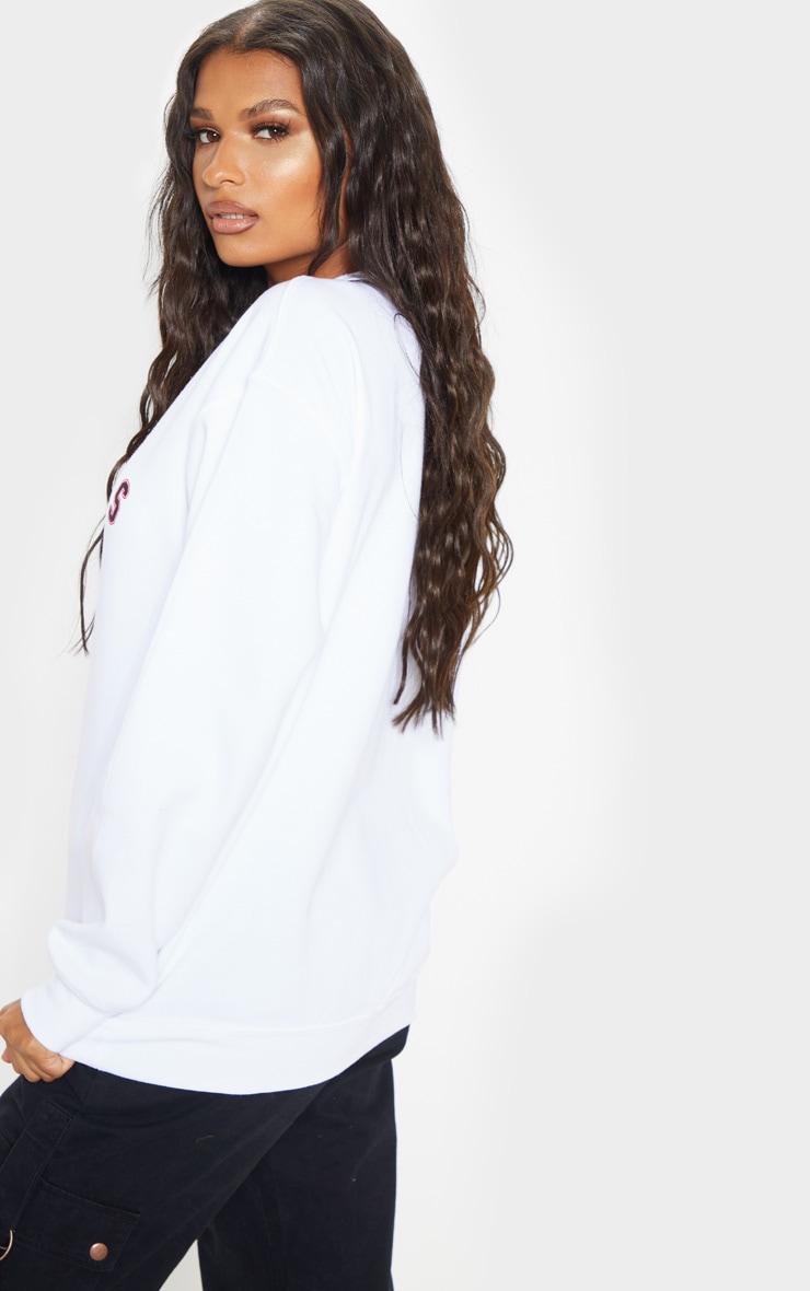 White Calabasas Slogan Sweater 2