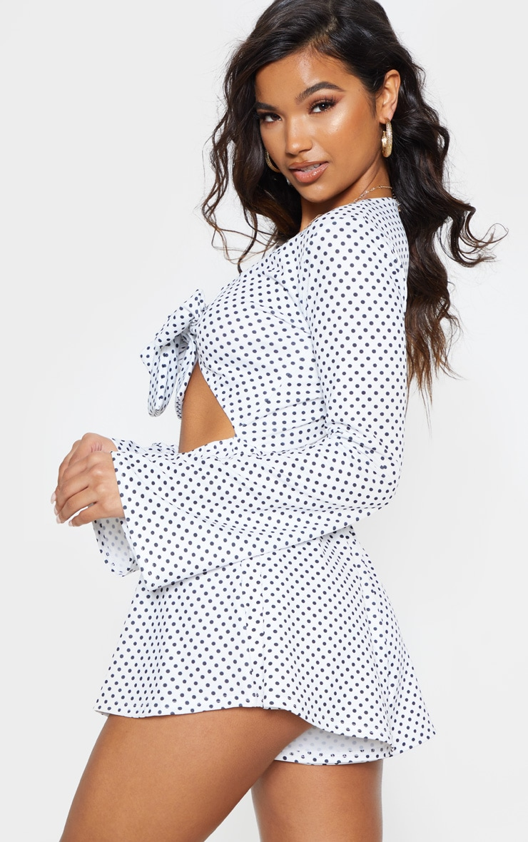White Polka Dot Tie Front Playsuit 3