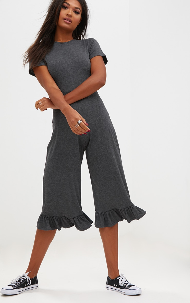 Charcoal Short Sleeve Frill Hem Culotte Jumpsuit  1